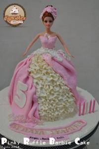 Pinky Ruffle Barbie Cake