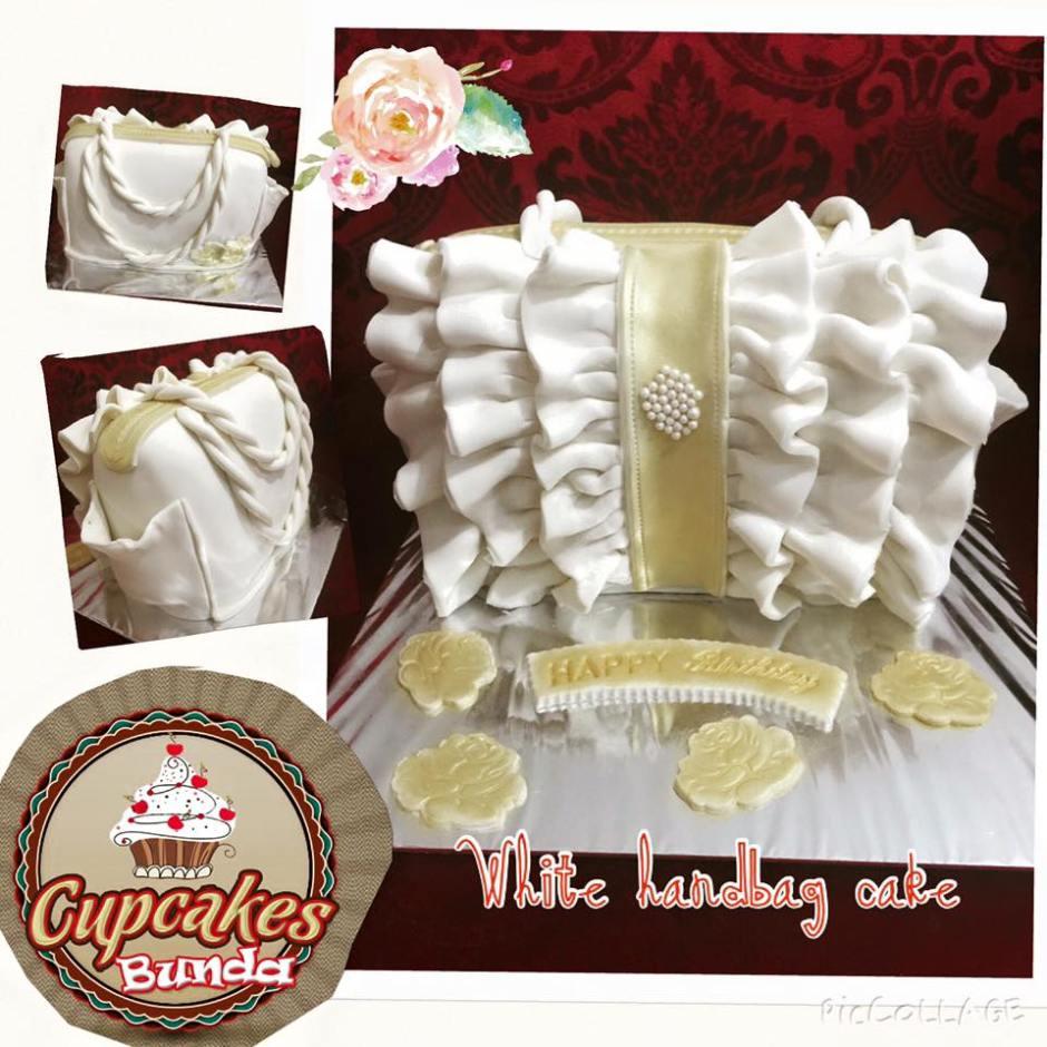 white hand bag cake